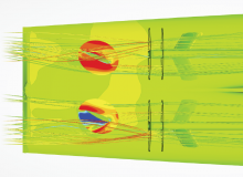 Flow visualisation at the stern of a twin-screw vessel