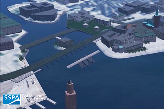 In these simulations, it was assumed that the barge will be using winches connected to the shoreline and anchors for positioning