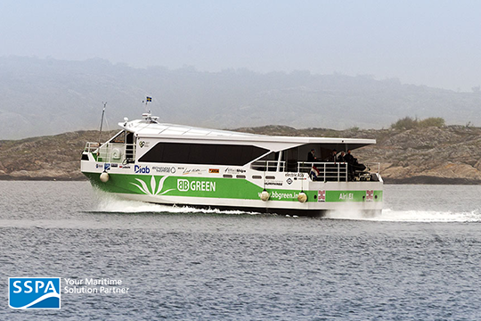 "At SSPA, increased activity within the area of battery and hybrid propulsion can be seen in an increasing number of projects within this area. One example is the fast, air-supported commuter ferry ""Airi El"" in the project BB GREEN. Photo: Anders Mikaelsso"
