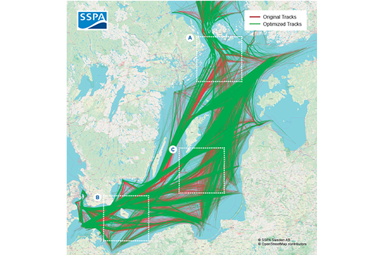 Route optimisation based on AIS tracks in the Baltic Sea
